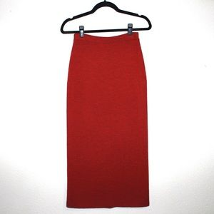 Eileen Fisher Knit Red Heathered Wool Midi Skirt
